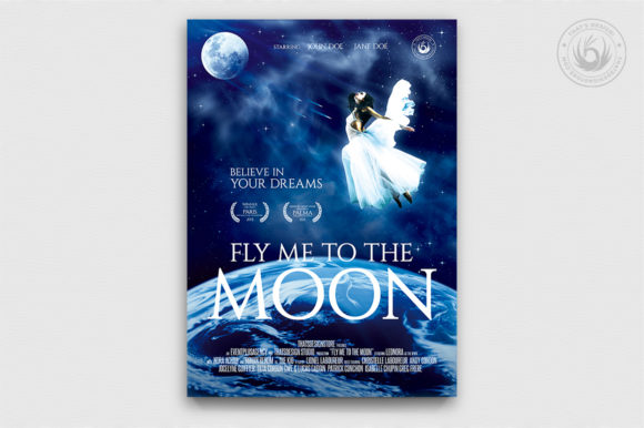 Download Free Fly Me To The Moon Movie Poster Template Graphic By for Cricut Explore, Silhouette and other cutting machines.