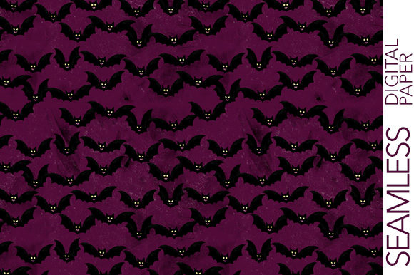 Print on Demand: Flying Bats - Halloween Digital Paper Graphic Patterns By Milaski