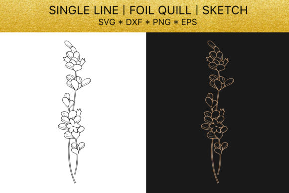 Download Free Foil Quill Golden Lavender Graphic By Mystocks Creative Fabrica for Cricut Explore, Silhouette and other cutting machines.