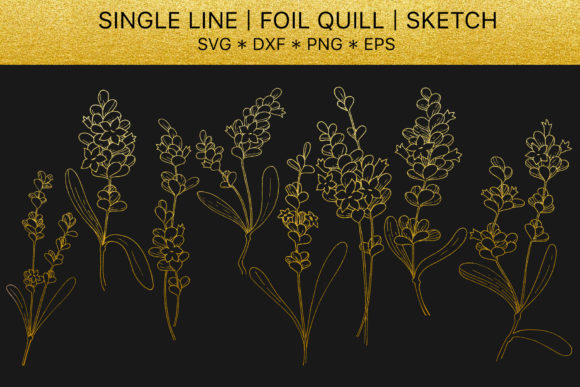 Print on Demand: Foil Quill SVG Golden Lavender Graphic Illustrations By MyStocks