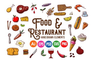 Print on Demand: Food and Restaurant Hand Drawn Elements Graphic Illustrations By maneka