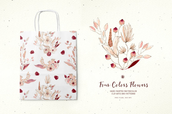 Four Colors Flowers Graphic Illustrations By webvilla - Image 5