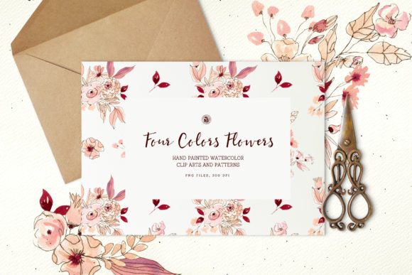 Four Colors Flowers Graphic By webvilla