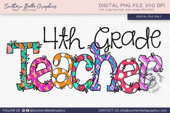 Fourth Grade Teacher Graphic Crafts By Southern Belle Graphics