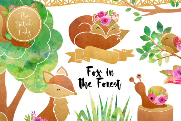 Print on Demand: Fox & Forest Clipart Set Graphic Illustrations By daphnepopuliers