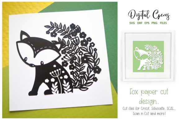 Download Free Fox Paper Cut Graphic By Digital Gems Creative Fabrica for Cricut Explore, Silhouette and other cutting machines.
