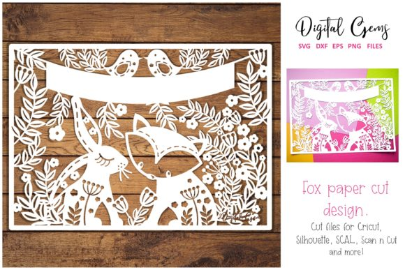 Fox and Rabbit Papercut Design Graphic By Digital Gems