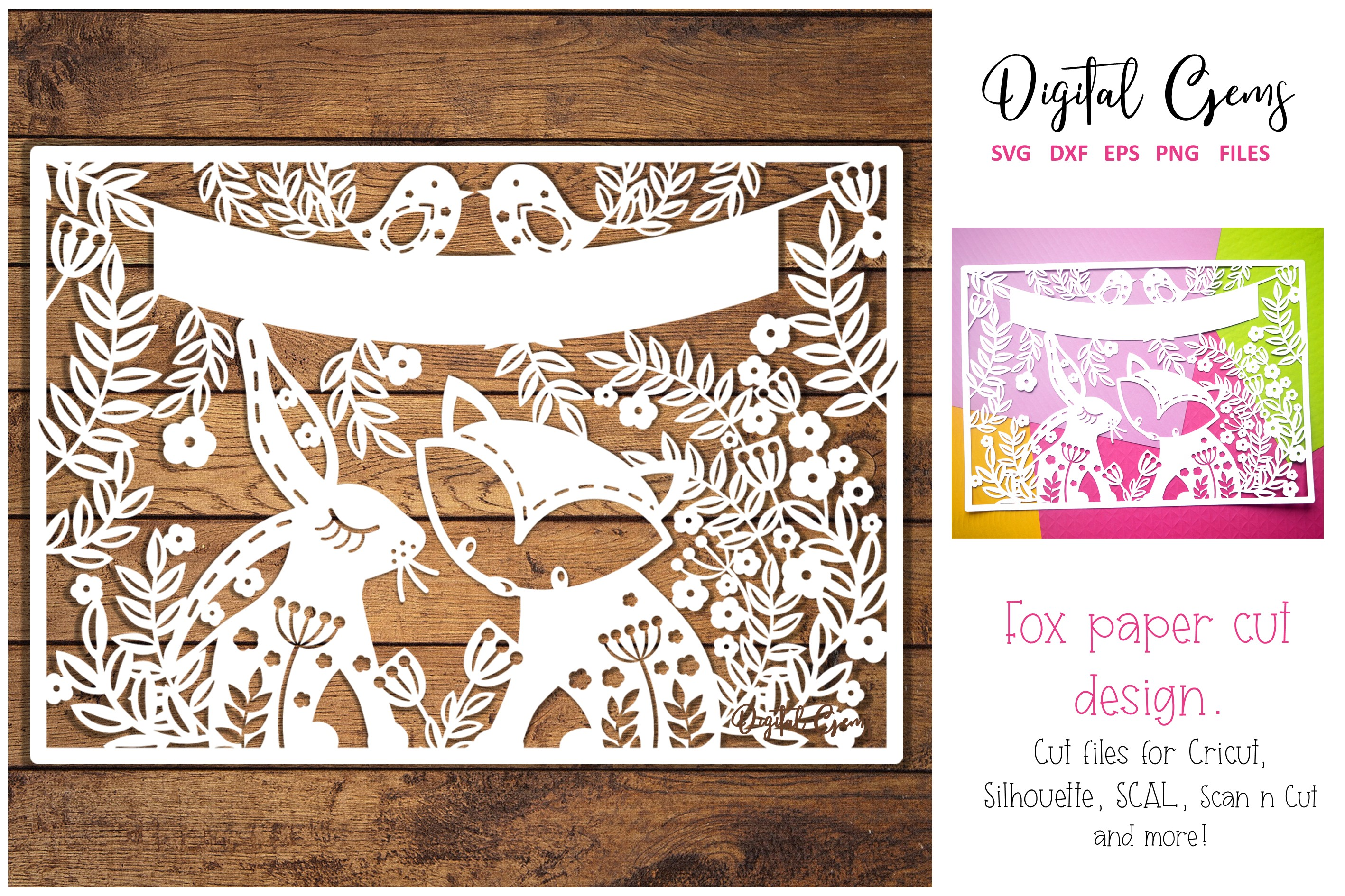 Download Free Fox And Rabbit Papercut Design Graphic By Digital Gems for Cricut Explore, Silhouette and other cutting machines.