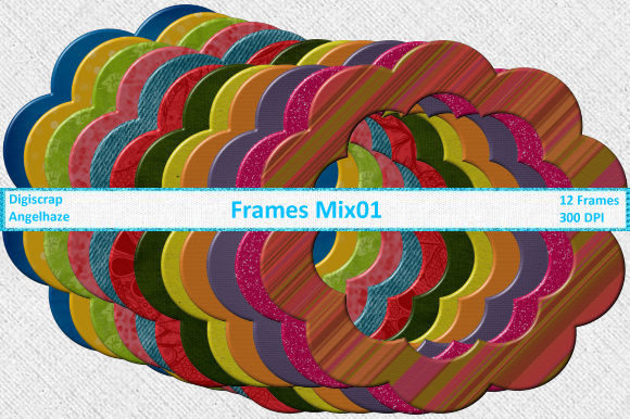 Print on Demand: Frames Mix 01 Graphic Patterns By Digiscrap Angelhaze