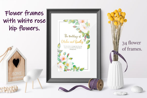 Print on Demand: Frames with White Rose Hip Flowers Graphic Illustrations By Natika_art