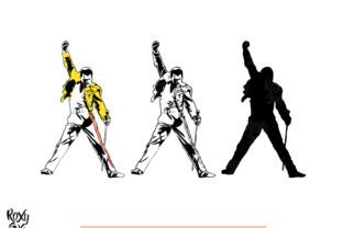 Download Free Freddie Mercury Silhouette Graphic By Roxysvg26 Creative Fabrica for Cricut Explore, Silhouette and other cutting machines.