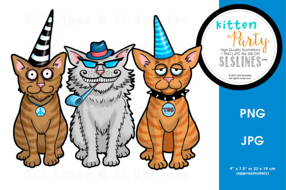 Print on Demand: Fun Cat Party Graphic Illustrations By SLS Lines