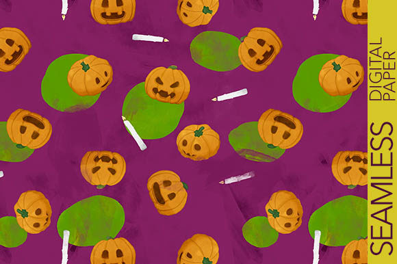 Print on Demand: Funny Halloween Pumpkins with Candles Graphic Patterns By Milaski