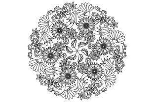 Print on Demand: Garden Flowers Coloring Page Graphic Coloring Pages & Books Adults By GraphicsFarm