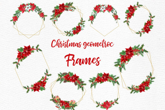 Geometric ChristmasFrames Clipart Graphic Illustrations By LeCoqDesign - Image 2