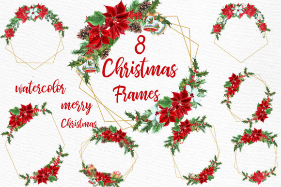 Geometric ChristmasFrames Clipart Graphic Illustrations By LeCoqDesign - Image 1