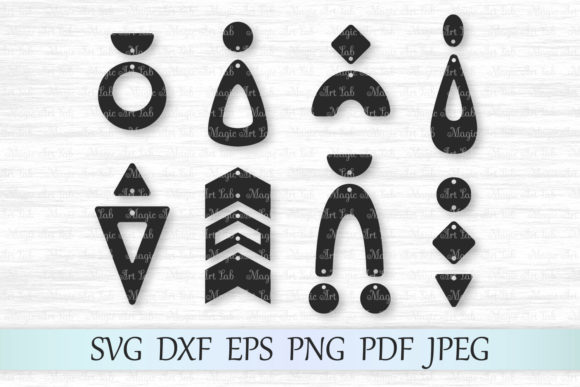 Download Free Geometric Earring Designs Cut Files Graphic By Magicartlab for Cricut Explore, Silhouette and other cutting machines.