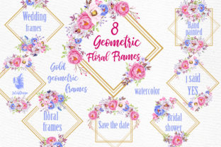 Print on Demand: Geometric Floral Gold Frames Clipart Graphic Illustrations By LeCoqDesign