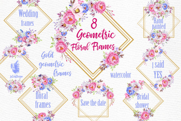 Geometric Floral Gold Frames Clipart Graphic Illustrations By LeCoqDesign