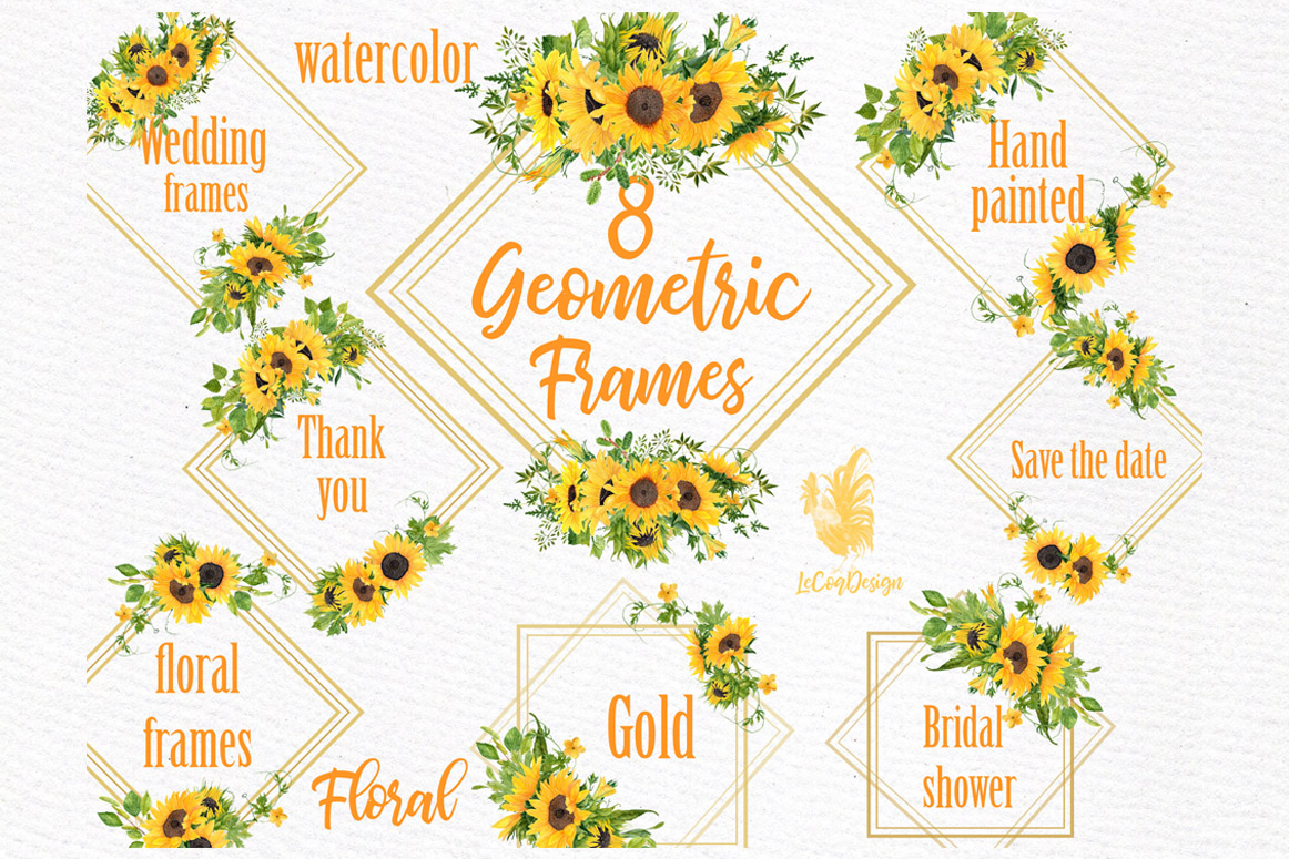 Download Free Geometric Sunflower Gold Frames Clipart Graphic By Lecoqdesign for Cricut Explore, Silhouette and other cutting machines.