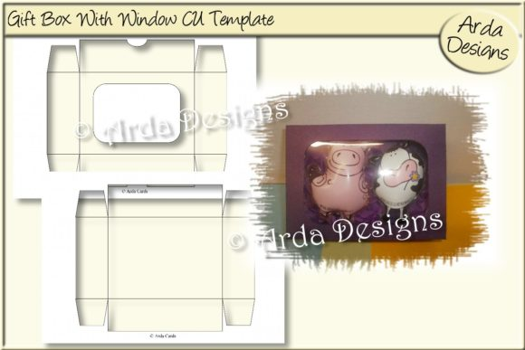 Download Free Gift Box With Window Cu Template Graphic By Arda Designs for Cricut Explore, Silhouette and other cutting machines.