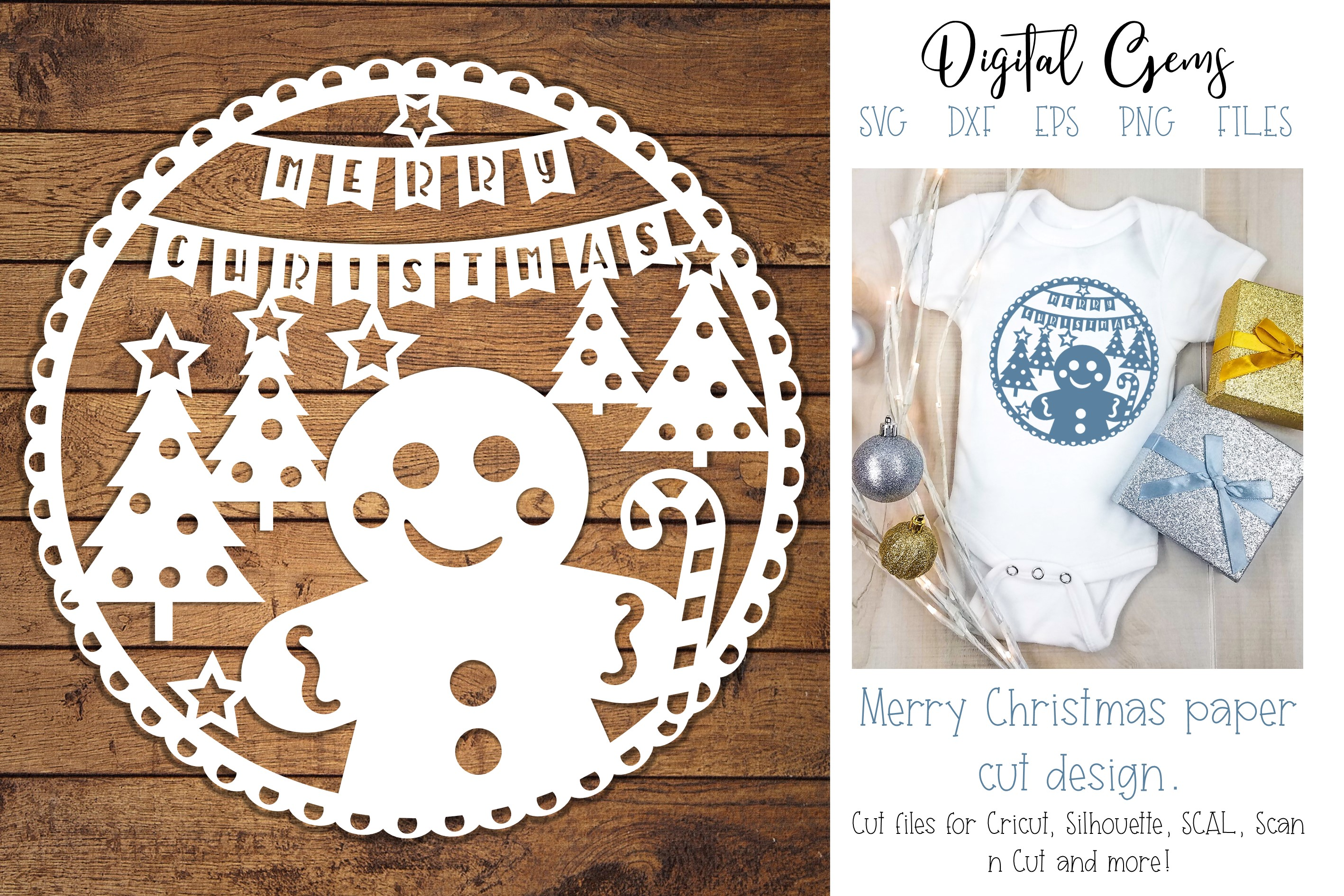 Download Free Gingerbread Man Christmas Design Graphic By Digital Gems for Cricut Explore, Silhouette and other cutting machines.