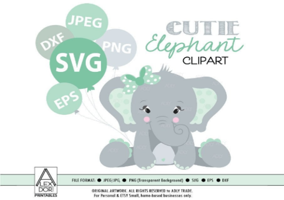 Print on Demand: Girl Baby Elephant Clip Art SVG in Mint Graphic Illustrations By adlydigital