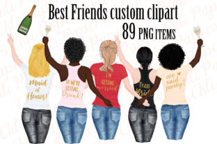Print on Demand: Girl Best Friend Clipart, Bachelorettes Graphic Illustrations By ChiliPapers