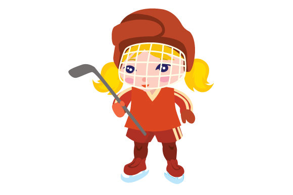 Girl Ice Hockey Player with Blank Jersey Sports Craft Cut File By Creative Fabrica Crafts
