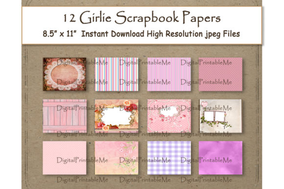 Girly Digital Paper Layout 11 Graphic Backgrounds By DigitalPrintableMe - Image 1