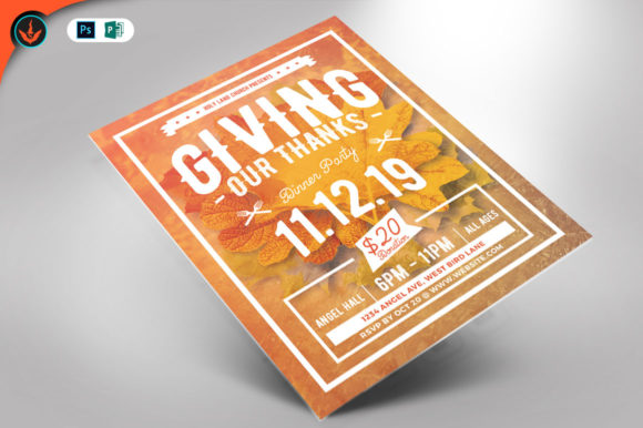Giving Thanks Holiday Flyer Template Graphic By seraphimchris