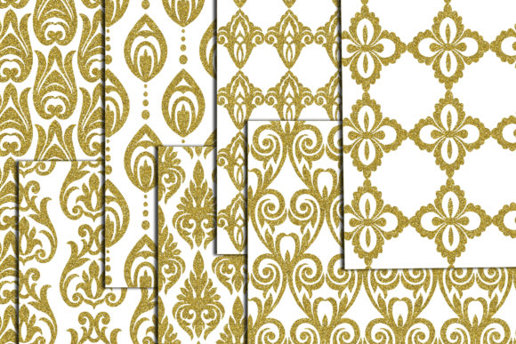 Download Free Gold Damask Digital Paper Damask A4 Graphic By Chilipapers for Cricut Explore, Silhouette and other cutting machines.