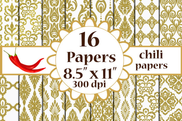 Download Free Gold Damask Paper Damask Pattern A4 Graphic By Chilipapers for Cricut Explore, Silhouette and other cutting machines.