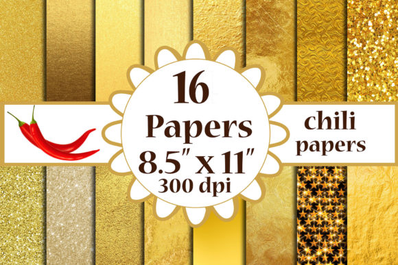 Gold Foil Digital Paper, Gold A4 Papers Graphic Crafts By ChiliPapers