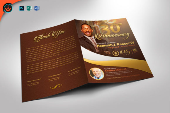 Gold Pastor's Anniversary Program Graphic By seraphimchris