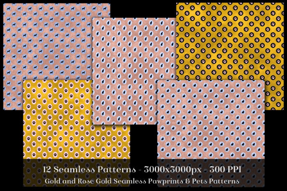 Gold & Rose Gold Seamless Pet Patterns Graphic By SapphireXDesigns Image 2