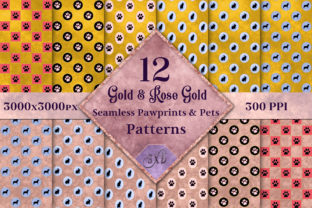 Gold & Rose Gold Seamless Pet Patterns Graphic By SapphireXDesigns