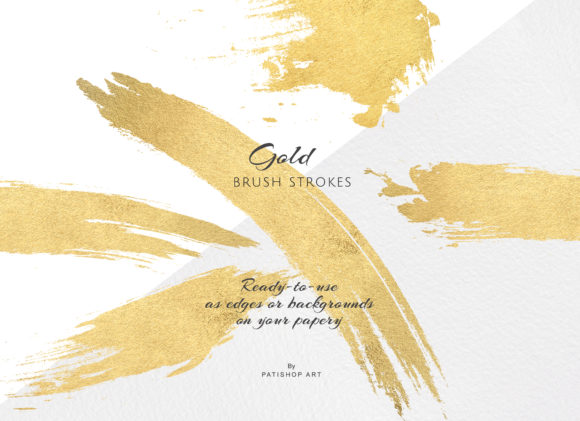 Gold and Blush Brush Strokes Graphic Textures By Patishop Art - Image 2