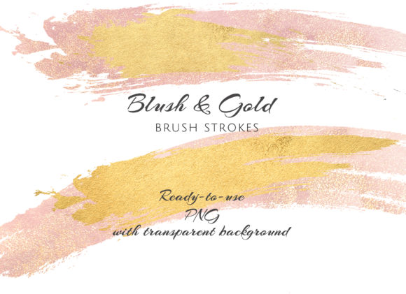 Gold and Blush Brush Strokes Graphic Textures By Patishop Art - Image 4