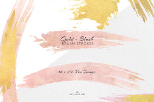 Gold and Blush Brush Strokes Graphic By Patishop Art