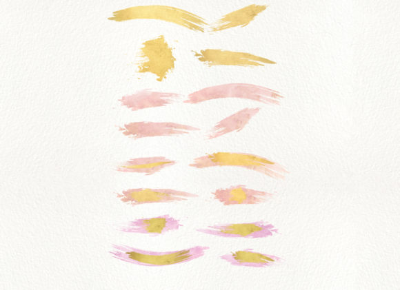 Gold and Blush Brush Strokes Graphic Textures By Patishop Art - Image 5
