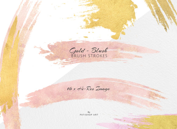 Gold and Blush Brush Strokes Graphic Textures By Patishop Art