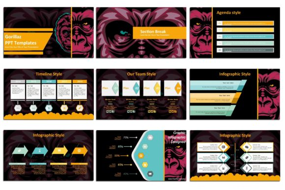 Print on Demand: Gorillas - PowerPoint Presentation Graphic Presentation Templates By Gblack Id - Image 2