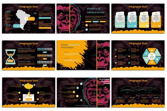 Print on Demand: Gorillas - PowerPoint Presentation Graphic Presentation Templates By Gblack Id - Image 4
