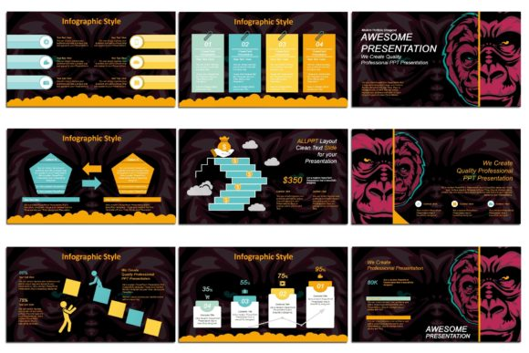 Print on Demand: Gorillas - PowerPoint Presentation Graphic Presentation Templates By Gblack Id - Image 5