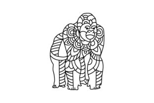 Gorrilla. Mandala Line Art Style (for Coloring Book) Craft Design By Creative Fabrica Crafts