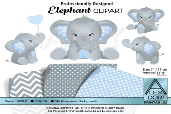 Print on Demand: Gray Elephant Clipart, Baby Blue & Gray Graphic Illustrations By adlydigital