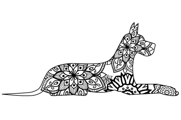 Download Free Great Dane Mandala Line Art Style Svg Cut File By Creative for Cricut Explore, Silhouette and other cutting machines.