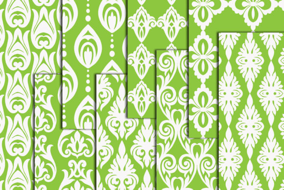 Download Free Green Damask Digital Paper Damask A4 Graphic By Chilipapers for Cricut Explore, Silhouette and other cutting machines.