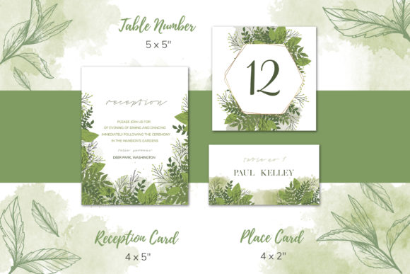 Download Free Green Floral Wedding Invitation Set Graphic By Awesome Templates SVG Cut Files